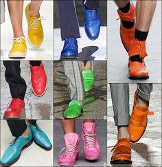 Nyt ei kainostella! Kevät/kesä 2013 on täynnä värejä. Ja koska värikylläisyys on niin laaja, kaikille löytyy sopivia valintoja.  Mens Shoe Trends 2013