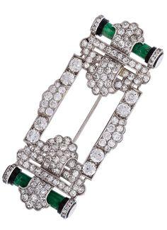 Art Deco Diamond, Jadeite Jade, Black Onyx & Platinum Brooch by Cartier
