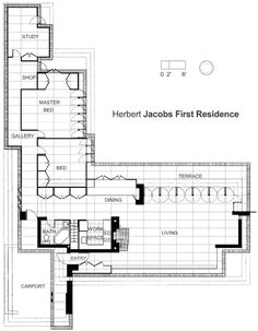 Plan. Herbert Jacobs House I. Madison, Wisconsin. 1937. Frank Lloyd Wright Usonian Style.