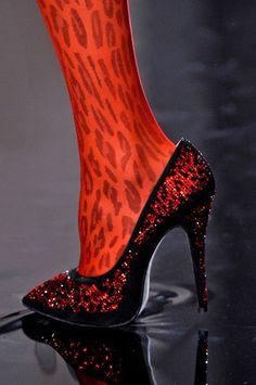 Jean Paul Gaultier Dark Red Glittering Pumps Haute Couture FW 2013 #Shoes #Heels