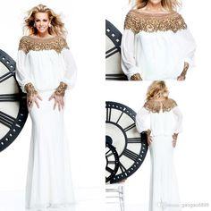 Cheap 2014 Evening Gown - Discount New Long Sleeve Chiffon White Crystal Formal Evening Dresses Beaded Arabic Dubai Abaya Kaftan Prom Celebrity Gowns Tarik Ediz 2014 Muslim Online with $128.17/Piece | DHgate