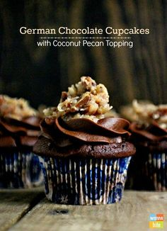 German Chocolate Cupcakes WITH COCONUT PECAN TOPPING