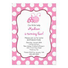Sweet Pink Ladybugs Birthday Invitation