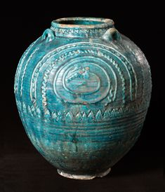 Earthenware storage jar with a turquoise glaze, Western Iran or Iraq, century - Alain. Ceramic Clay, Ceramic Pottery, Pottery Art, Pottery Ideas, Persian Blue, Antique Pottery, Ancient Architecture, Jar Storage, Ancient Artifacts