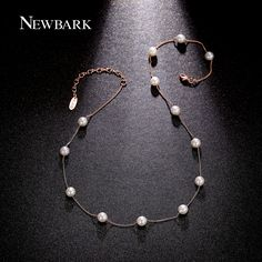 NEWBARK 13Pcs Imitation Pearl Necklaces & Pendants Two Tone Retro Necklace Rose Gold Plated Bijoux Femme Gift For Friends