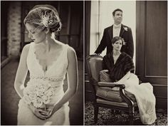 Vintage birdcage veil by White Orchid Bridal.
