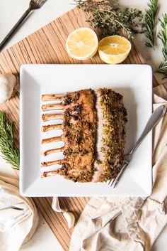 This Rosemary & Garlic Oven Roasted Rack of Lamb is a perfect centerpiece for an elegant holiday dinner without requiring any fussy or difficult skills!  Juicy, tender, and perfectly cooked to a medium-rare with a crusty exterior made with garlic, herbs, and lemon zest, this is one of the best cuts of lamb and makes an easy and impressive main dish for entertaining!
