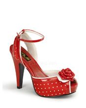 Pinup Couture Shoes | Bettie-06 Red Polka Dot Peep Toe Platform | The Atomic Boutique.com