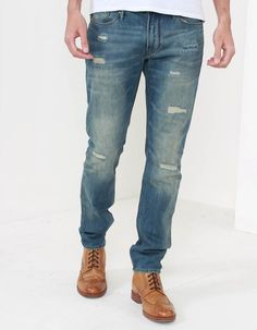These rip repair jeans from Armani Jeans have a medium low rise fit and feature a distressed/worn fit. Ripped Jeans, Skinny Jeans, Armani Jeans, Bank Holiday, Mens Fashion, Holiday Outfits, Denim, How To Make, Pants