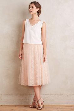 Laced Tulle Midi Skirt - anthropologie.com