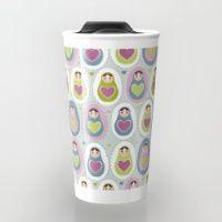 Travel Mug featuring matryoshka   with heart by EkaterinaP