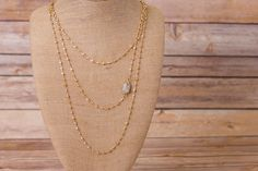 Triple Strand Layered Necklace with Druzy Pendant