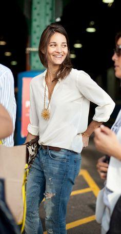 White Shirt + Jeans + Pendant