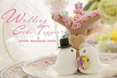 LOVE ANGELS Wedding Cake Topperlove bird with sakura by kikuike, $180.00
