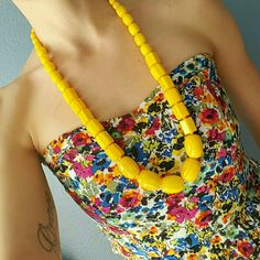 Bright Yellow Statement Necklace  Beautiful vintage statement necklace!! Perfect addition to your Spring wardrobe! Vintage Jewelry Necklaces