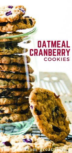 Oatmeal Cranberry Cookies, Desserts, Oatmeal Cranberry Cookies ~ these cookies are crisp on the outside, chewy inside, and packed with tart cranberries. Cranberry Cookies, Cookie Desserts, Dessert Recipes, Dinner Recipes, Lunch Recipes, Cookies Subway, Sugar Cookies Recipe, Yummy Cookies, Oatmeal Recipes