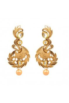 18K Goldplated Kundan Long Earrings #jewellery #designer #ethnic #partywear #droplets #polki #goldplated #earrings #danglers  Shop from trendybharat  https://trendybharat.com/women/jewellery?limit=100