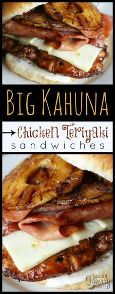 These Big Kahuna Chicken Teriyaki Sandwiches are better than most because they are loaded with sliced ham, grilled pineapple, and Pepper Jack cheese. via @favfamilyrecipz