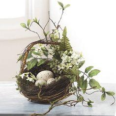 """RAZ 9\"""" Twig Nest Basket with Eggs"""