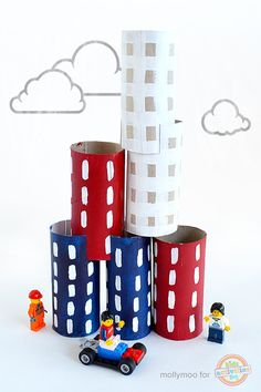 I love dreaming up toilet roll crafts and activities! and this Toilet Roll City is the perfect make and play craft, with limitless stacking toy possibilities.