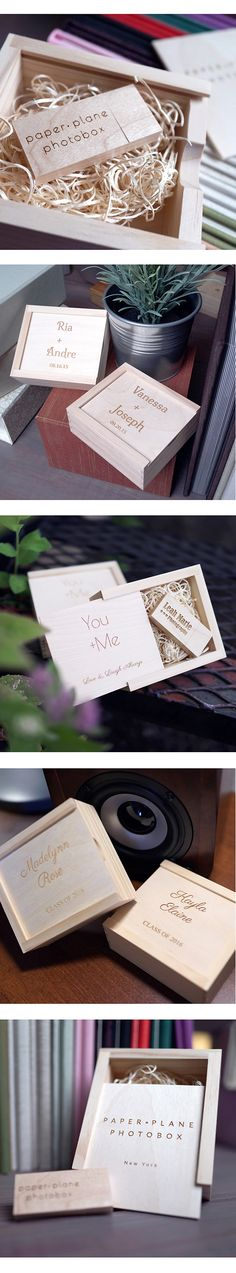 Personalize your USB + Boxes with text and dates.
