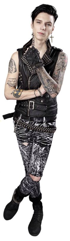 Andy Biersack's circus pants (?) And please look at his giraffe neck o.O