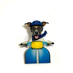 Dog Driving Scooter Dog Riding a Motorcycle Retro by XenaStyle