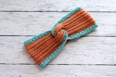Blue Orange Headband  Knitted Hairband  Textured by ussuriknits