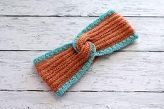 Blue Orange Headband  Knitted Hairband  Textured by ussuriknits