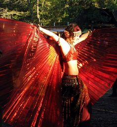 New Egyptian Delly Dance, Costumes Red Lame Isis Wings With Free Bag & sticks