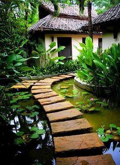 100 Gartengestaltung Bilder und inspiriеrende Ideen für Ihren Garten - lustigen garten gestalten trittsteine teich pflanzenbeete