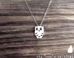 430Owl Necklace - White Grey Cute Owl Charm Pendant - sterling silver chain - The Lovely Raindrop