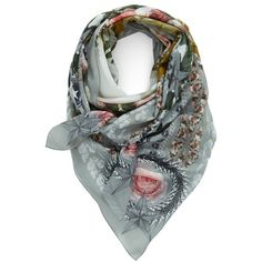 Women's Givenchy 'Paradise Flower' Print Cotton & Silk Scarf (1.547.070 COP) ❤ liked on Polyvore featuring accessories, scarves, floral shawl, floral print scarves, square scarves, givenchy and givenchy scarves