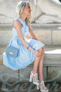 Gepur | Изящное летнее платье арт. 16410 Цена от производителя, достоверные описание, отзывы, фото , цвет: , цвет: голубой, белый