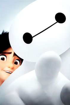 "Baymax: ""hey you there!"" Hiro: ""it's ok. they're friends!"" ベイマックス - Baymax - Big Hero 6 Me(Hannah): he-hello! Bmax Disney, Disney Amor, Punk Disney, Disney Facts, Princess Disney, Disney Princesses, Disney Movies, Disney Characters, Hiro Big Hero 6"