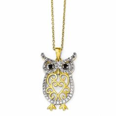 Cheryl M Sterling Silver Gold-Plated W/Rhodium CZ Owl 18in Necklace
