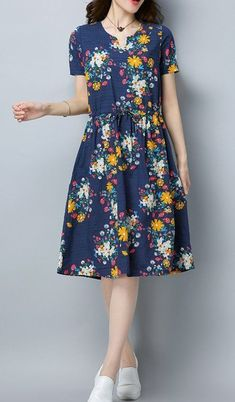 Women loose fit over plus size retro flower dress tunic draw string skater chic ., Women loose fit over plus size retro flower dress tunic draw string skater chic . Women loose fit over plus size retro flower dress tunic draw strin. Flower Dresses, Modest Dresses, Plus Size Dresses, Cute Dresses, Casual Dresses, Fashion Dresses, Summer Dresses, Stylish Dresses, Fit Women