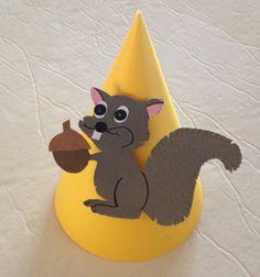 Squirrel party hats on your choice of background cone (shown here on yellow or green but can be any color). Perfect for fall birthdays!    Hats