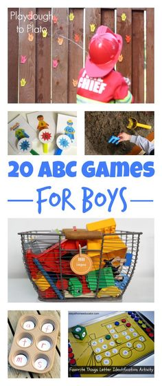 20 abc games for preschool aged boys...links to ideas that will draw boys into the fun of learning while playing
