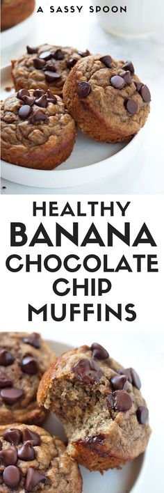 Healthy banana muffins made with whole wheat flour, protein powder, and a few chocolate chips. Easy-to-make and ready in 30 minutes from start to finish! via @asassyspoon