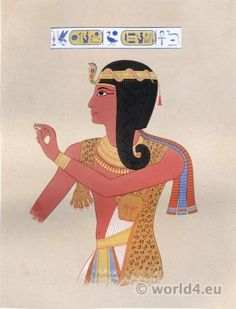 Ancient Egyptian Pharaoh Ramses II. costume. Antique Egypt decoration and paintings.