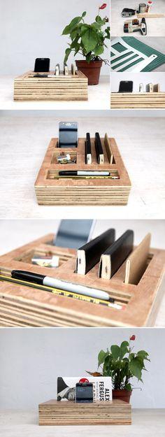Plywood desk organization