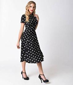 Hell Bunny Black & Cream Polka Dot Madden Swing Dress