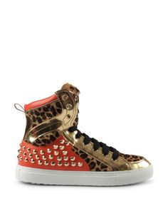 DSQUARED2 SNEAKERS: Dsquared2's sleek leather hightop design is tricked out with rock star details. Gleaming metallic gold inserts mixed with leopard print ponyskin and studded orange calf — these hightops are made to shine in the spotlight on center stage.