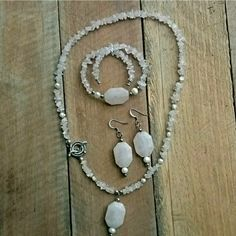 Genuine Rose Quartz Necklace with Freshwater Pearls Sterling Silver French Earring Set Handcrafted Set Boho Jewelry Bohemian Jewelry Rustic by LorisArtisanAccesrys on Etsy