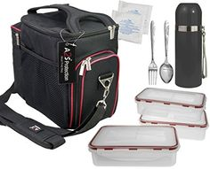 Complete Meal Management 8 Pcs Set by A2S Protection Featuring Cooler Bag 3x Meal Prep Portion Control Containers Leakproof Fork and Spoon Insulated Beverage Bottle Reusable Ice Pack Black  Red -- Find out more about the great product at the image link.