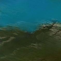 Paysage abstrait, peinture, crayon, photo, bleu, vert, kaki, oeuvre unique, impression d'art, édition limitée, épreuve signée et numérotée Photo Bleu, Crayon, Les Oeuvres, Waves, Unique, Outdoor, Etsy, Abstract Drawings, Abstract Landscape