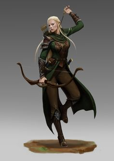 f High Elf Ranger Leather Armor Cloak Longbow Sword forest hills mountains Blond female woman elf green and brown archer bow 3d Fantasy, Fantasy Armor, Medieval Fantasy, Dnd Characters, Fantasy Characters, Female Characters, Elfa, Female Character Concept, Character Art