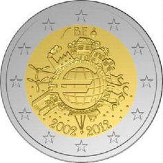 """moneda Belgica 2 euros 2012 """"X ANIVERSARIO DEL EURO""""., Tienda Numismatica y Filatelia Lopez, compra venta de monedas oro y plata, sellos españa, accesorios Leuchtturm"""