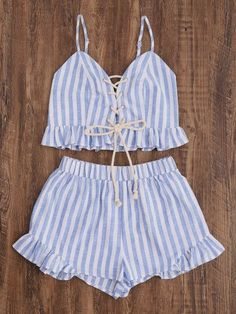 Shop Lace Up Smocked Cami And Frill Shorts Co-Ord online. SheIn offers Lace Up Smocked Cami And Frill Shorts Co-Ord & more to fit your fashionable needs. Mode Du Bikini, Shorts Co Ord, Frill Shorts, Summer Outfits, Cute Outfits, Sleeveless Outfit, Cropped Cami, Pli, Two Piece Outfit